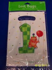 My 1st Birthday Teddy Bear Green Cute Kids Party Plastic Favor Sacks Loot Bags