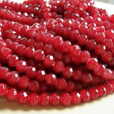 15inch- Dark Red Quartz Glass Faceted Rondelle Beads...8x6mm..
