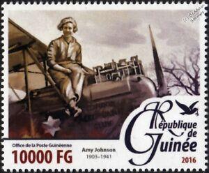 AMY JOHNSON British Woman Pilot/Flyer/Aviatrix Aircraft Stamp #2 (2016 Guinea)
