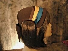 Vintage Hat FILENE'S Brown Wool  Multi-Color Satin Ribbon Trim Back Bow 1950's