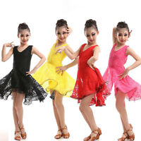 Red Girls Ballet  Salsa dancewear Costumes Childrens Ballroom Latin dance dress