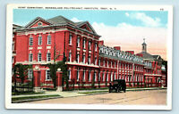 Troy, NY HORT DORMITORY - RENSSELAER POLYTECHNIC INSTITUTE & OLD CAR POSTCARD