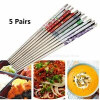 5 Pairs Chopsticks Stainless Steel Chop Sticks Beautiful Gift Set Assorted Home