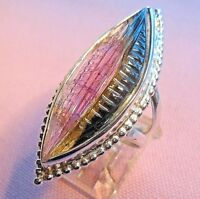 """9ct Handcrafted """"Watermelon Tourmaline  Sterling Silver 925 Ring skaisSEPT18"""