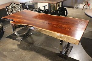 """87"""" L Dining table makha wood smooth top slab stainless steel base polished"""