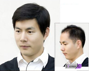 UK Mens Remy Human HairToupee Hairpiece short hair Replacement top wig for man