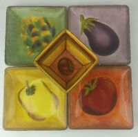 Hand-painted Toscana Dip Set 4 plates & 1 bowl canape appetizer salsa CLAY ART
