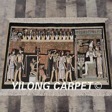 Yilong 2'x3' 300Lines Hand knotted Carpet Handmade Egypt Tapestry Silk Rug L107A