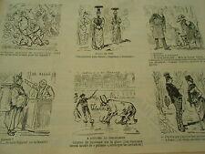 Vignettes 1890 Courses de Taureaux sur la glace Modes cole carcans Caricature