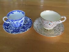 Set of 2 Cups with Saucers: Royal Crown Derby Blue Mikado  & Royal Stafford