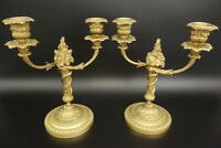 PAIR OF CANDLEHOLDERS, LOUIS XVI STYLE ERA 19TH - BRONZE - FRENCH ANTIQUE