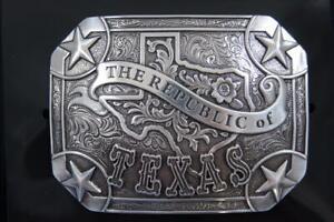 Nocona Silver tone Republic of Texas Rectangle Belt Buckle 37983