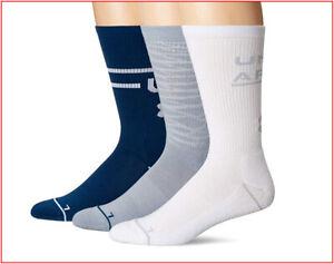3 Pairs- Under Armour Phenom 4.0 CREW Socks -Wicks Large Blue Gray White 🌟NEW🌟