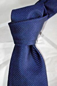 "$205 NWT Ermenegildo ZEGNA solid Navy Blue 3.5"" men's woven SILK neck tie ITALY"