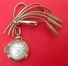spilla con orologio anni '50-brooch watch vintage-meccanico manuale svizzero-