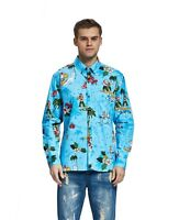 Hawaii Hangover Men's Hawaiian Shirt Aloha Shirt Santa Christmas Turquoise Long