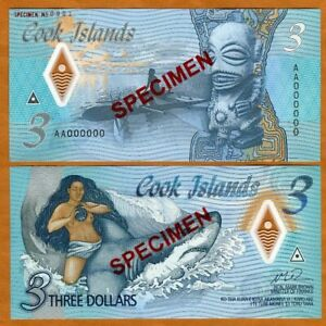 SPECIMEN Cook Islands, $3, 2021 Naked Ina & a shark P-New Polymer UNC