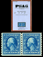 Scott 396 1913 5c Washington Perforated 8½ Mint Coil Pair Vf Nh with Psag Cert!