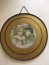 Antique Victorian Chimney Flue Cover Gold Glass Litho of Two Young Girls