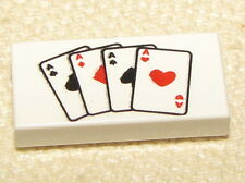 LEGO NEW 1 x 2 TILE WITH ACES POKER PATTERN PLAYING CARDS PIECE
