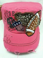 Football Wings Cadet Distressed Hat Baseball Cap Bling Rhinestone Military Pink