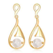 White Opal Imitation Pear Tear Gold Yellow Bridal Drop Stud Earrings E1332