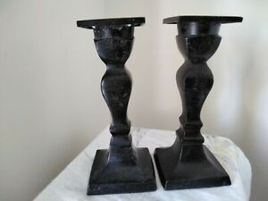 Vintage Pair of Black Cast Metal Candlesticks (Height 5.5 inches)