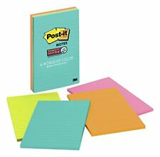 "Post-it Super Sticky Notes, 4"" x 6"", Miami Collection, 4 Pads per Pack, 45"