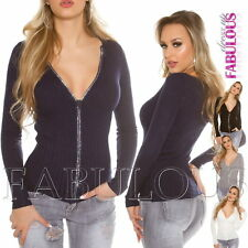 New Sexy Women's Diamante Zip Cardigan Jumper Jacket Knit Top Size 6 8 10 XS S M