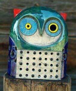 Ceramic Figurine OWL Art Decor Home Garden Decoration Sculpture Statues Handmade
