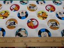 "1 yard Disney Mickey Mouse ""Character Badge""  Fabric"