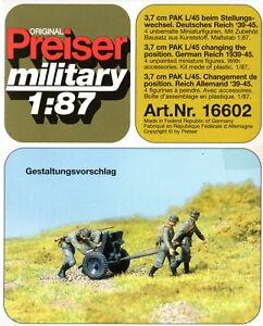 Preiser 16602 3,7 cm PAK L/45 beim Stellungswechsel  DR 39-45