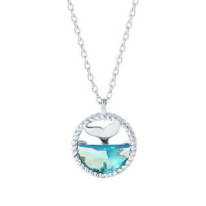 Unique Silver Whale Tail Pendant Necklace Blue Crystal Girls Costum Jewelry