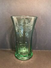 """Green Flared Top Coca Cola Vase/ Drinking Glasses, Heavy Glass, 6 1/4"""" Tall"""