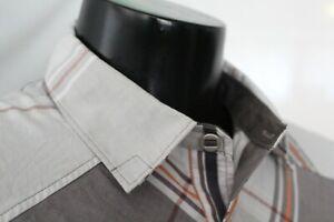 BLACK DIAMOND MEN'S Large White + Grey + Orange Plaid Short Sleeve Button Shirt