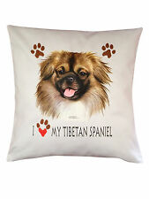 More details for tibetan spaniel heart breed of dog cotton cushion cover - perfect gift