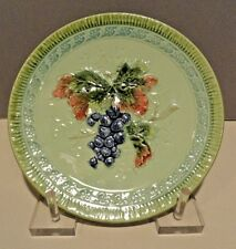 MAJOLICA GRAPE PLATE - Black Forest Art Pottery - Erphila Germany - Excellent