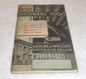 Vintage 1937 Moore & Wright, Sheffield Engineers tool catalogue