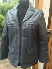 Lederjacke Heine Bikerjacke Shabby Leder Grau Blau 46 XL Blazer Jacke