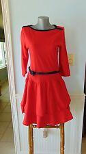NEW Lauren Jeans Co. Ralph Lauren Red/Navy Nautical Knit Dress Rope Belt M