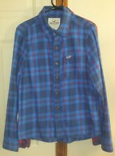HOLLISTER CO FLANNEL LONG SLEEVE BUTTON UP SHIRT BLUE PLAID SIZE LARGE COTTON