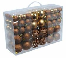 100 BROWN Christmas Bauble Decor Tree Hanging Shiny Glitter Festive Ornament
