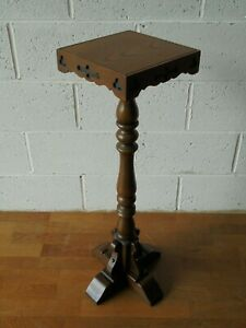 VINTAGE GOTHIC CARVED OLD CHARM OAK PLANT STAND TORCHERE ... postage just £11.99