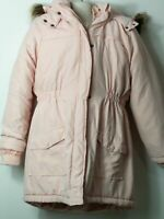GIRLS VERTBAUDET AGE 11-12 YEARS PINK HOODED PADDED QUILTED COAT JACKET KIDS
