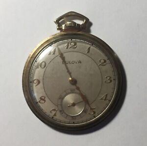 Vintage 10k Gold Rolled Plated Bulova Pocket Watch For Parts Or Restoration