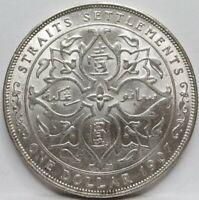 STRAITS SETTLEMENTS Malaysia Britain 1 dollar 1907 H AU / UNC Silver #B88