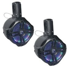 "NEW Pyle PLMRWB65LEB Dual 6.5"" Marine Tower Wakeboard Speakers  LED Lights  200W"