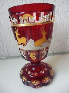 Très Beau, vieux Cristal Coupe, Calice, Peint à la Main, Bohême