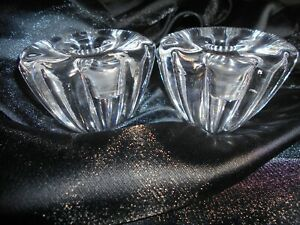2 X LOVELY ORREFORS CANDLE HOLDERS SIGNED OF THEY LOOK LIKE FLOWERS. APPROX 700G