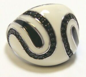 925 Sterling Silver Black Spinel, Black & White Enamel Ring Size 7, Platinum